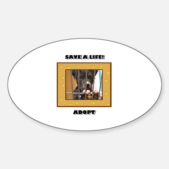 Adopt a puppy Oval Decal