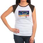 XmasSunrise/Corgi (BM) Women's Cap Sleeve T-Shirt