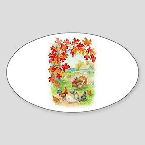 Thanksgiving Farm Design Oval Sticker