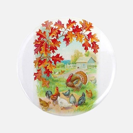 """Thanksgiving Farm Design 3.5"""" Button"""