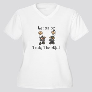 Let us be truly thankful Women's Plus Size V-Neck