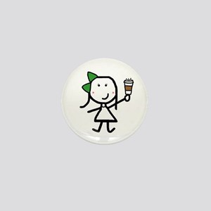 Girl & Coffee Mini Button