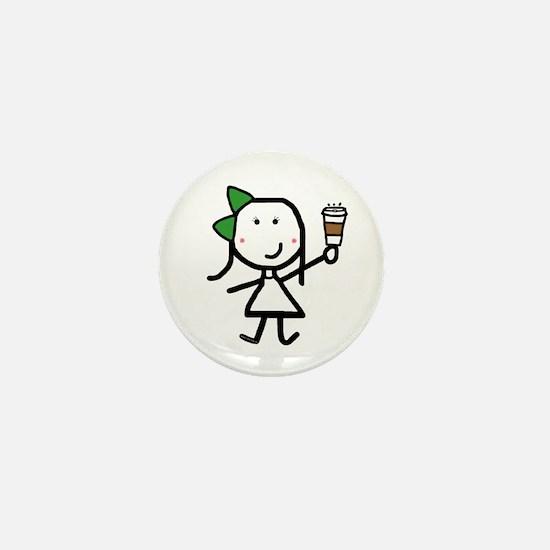 Girl & Coffee Mini Button