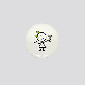 Girl & Martini Mini Button