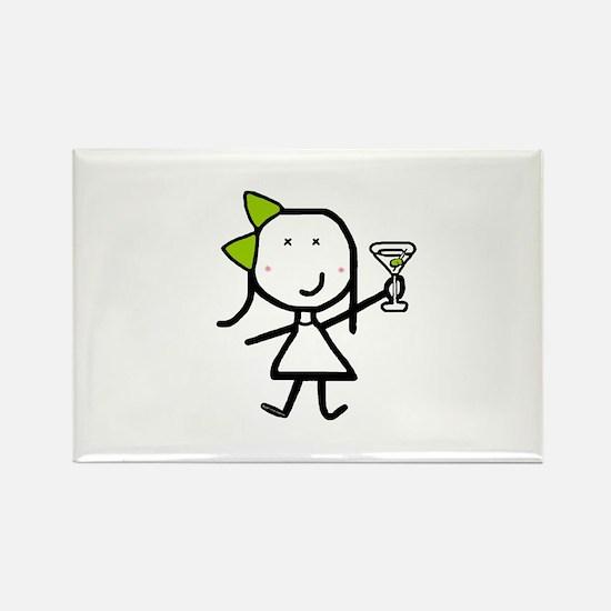 Girl & Martini Rectangle Magnet