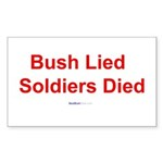"""Bush Lied"" Rect Sticker (10)"