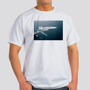 F-18 Hornet Soars Over USS En Ash Grey T-Shirt