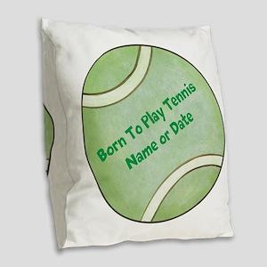 Personalized Tennis Ball Burlap Throw Pillow