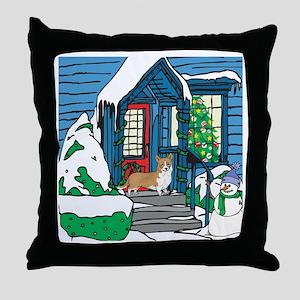 Welcome Corgi Christmas Throw Pillow