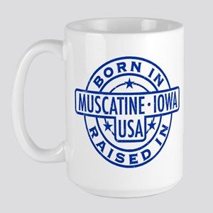 Born In, Raised In (blue) Large Mug