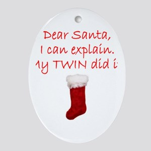Dear Santa Oval Ornament