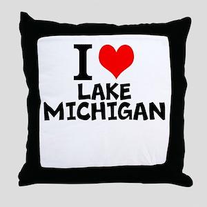 I Love Lake Michigan Throw Pillow
