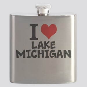 I Love Lake Michigan Flask
