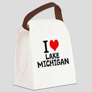I Love Lake Michigan Canvas Lunch Bag