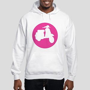 Retro Pink Scooter Dot Hooded Sweatshirt