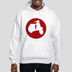 Retro Red Scooter Dot Hooded Sweatshirt