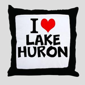 I Love Lake Huron Throw Pillow