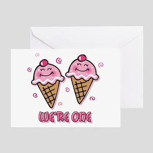 Ice Cream We're 1 Girls Greeting Card