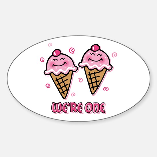 Ice Cream We're 1 Girls Oval Decal