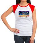 XmasSunrise/Borzoi Women's Cap Sleeve T-Shirt