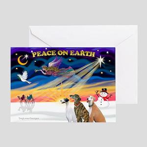 XmasSunrise/3 Greyhounds Greeting Card