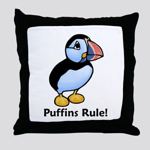 Puffins Rule! Throw Pillow