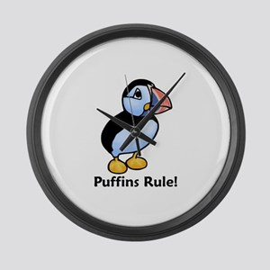 Puffins Rule! Large Wall Clock