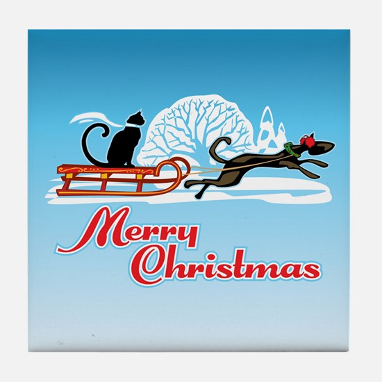 Christmas Pet Parade Tile Coaster