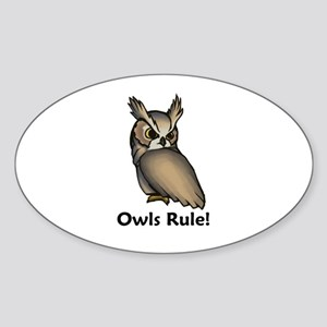 Owls Rule! Oval Sticker