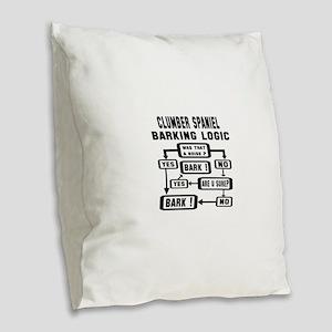 Clumber Spaniel Barking Logic Burlap Throw Pillow