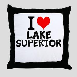 I Love Lake Superior Throw Pillow