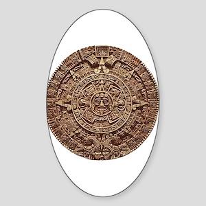 Aztec Calendar Oval Sticker