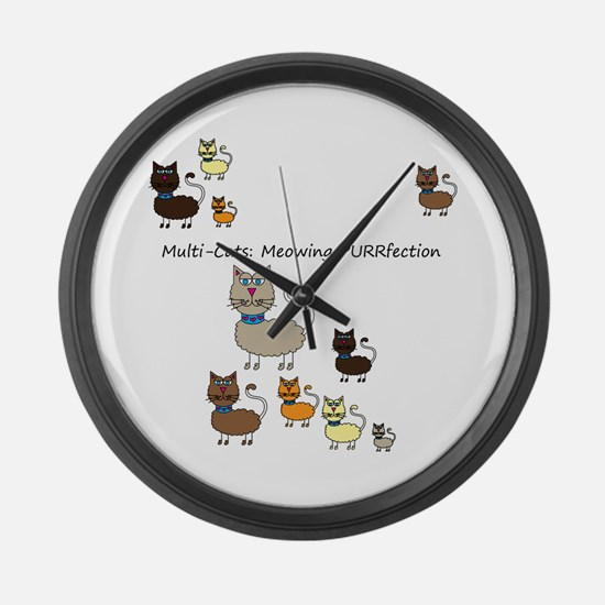 Multi Cats Large Wall Clock