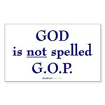 """GOD Is Not Spelled G.O.P."" Rect Sticker"