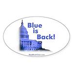 """""""Blue is Back!"""" Oval Sticker (10)"""
