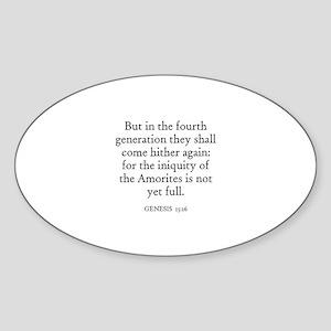 GENESIS 15:16 Oval Sticker