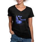"""""""Blue is Back!"""" Women's V-Neck Dark T-Sh"""