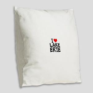 I Love Lake Erie Burlap Throw Pillow