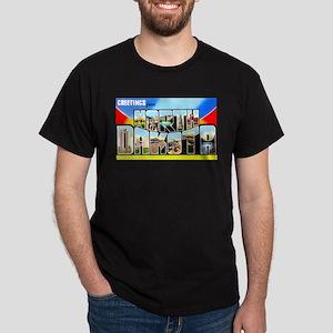 North Dakota Greetings (Front) Dark T-Shirt