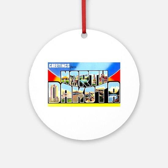 North Dakota Greetings Ornament (Round)