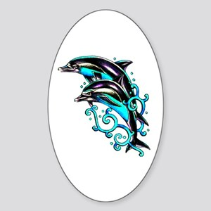 Jumping Dolphins Sea Life Oval Sticker