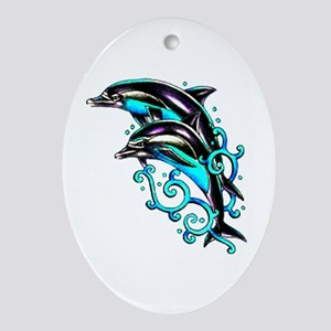Jumping Dolphins Sea Life Oval Ornament