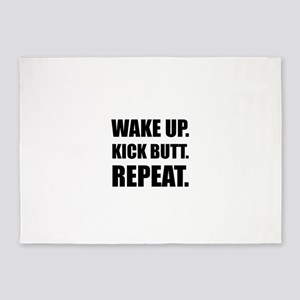 Wake Kick Butt Repeat 5'x7'Area Rug