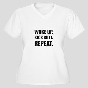 Wake Kick Butt Repeat Plus Size T-Shirt