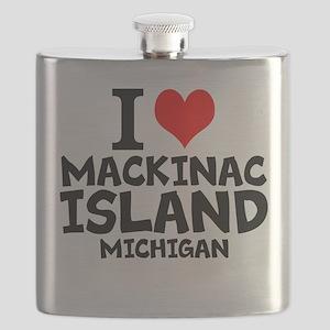 I Love Mackinac Island, Michigan Flask