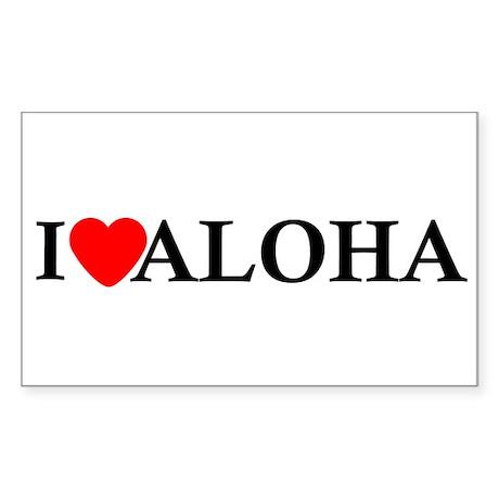 I Love Aloha Rectangle Sticker