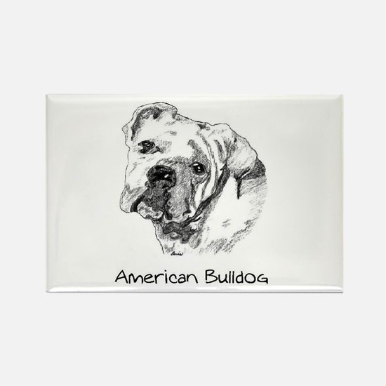 Cute American bulldogs Rectangle Magnet