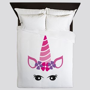 Cute Unicorn Face Queen Duvet
