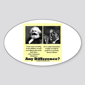 """""""Any Difference?"""" Oval Sticker"""