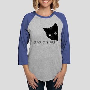 Black cats rule Womens Baseball Tee